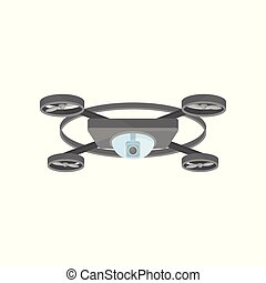 Gray flying drone with camera and 4 rotor blades. Remote controlled quadrocopter. Unmanned aerial vehicle. Flat vector icon