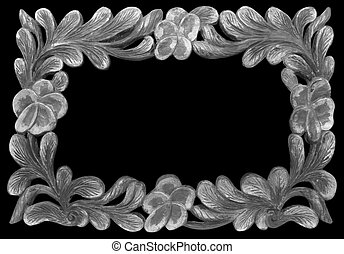 gray frame wooden isolated on black background