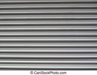 Gray garage door - Gray steel garage door with horzontal...