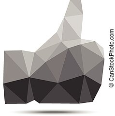 Gray geometric polygonal thumb up icon