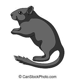 Gray gerbil.Animals single icon in monochrome style vector symbol stock illustration web.