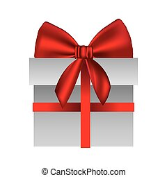 gray gift box with red ribbon