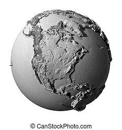 Gray Globe - North America - Realistic model of planet earth...