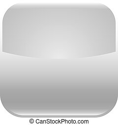 Gray glossy button blank icon square empty shape