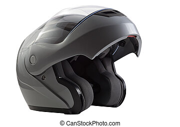 Gray, glossy motorcycle helmet - Silver open flip up helmet...