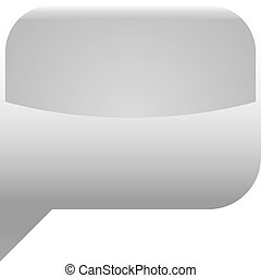 Gray glossy speech bubble blank location icon