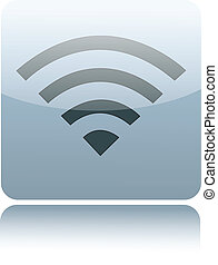 Gray glossy wireless or wifi sign