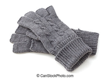 gray gloves on white background