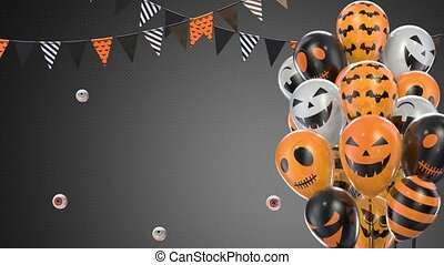 Gray gradient background of halloween balloons hanging flags...