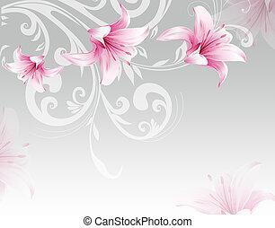 Gray gradient background, pink romantic ornamental lilies