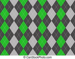 Gray green fabric argyle seamless pattern. Flat design. Vector illustration.