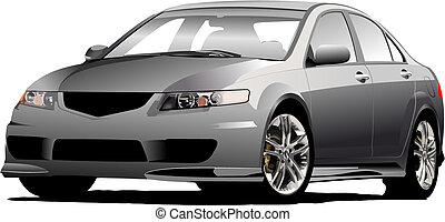 Gray (grey)  car sedan on the road. Vector illustration