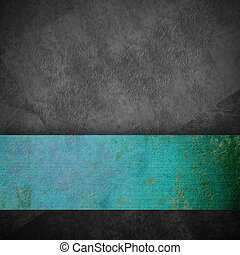 gray grunge background and turquoise ribbon with copy space