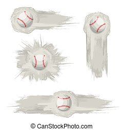 Gray grunge baseball banners set