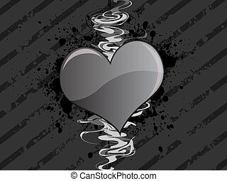 Gray Grunge Heart Background