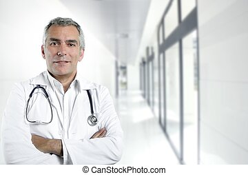 gray hair expertise senior doctor hospital portrait - gray...