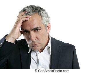 gray hair sad worried senior businessman expertise