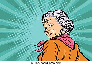 gray haired grandmother a good look. Pop art retro vector illustration comic cartoon figure vintage kitsch