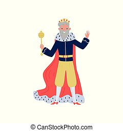 Gray haired king in red ermine mantle standing with...