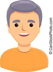 Gray haired man icon. Cartoon of gray haired man vector icon for web design isolated on white background