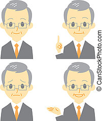 gray haired man in suit, expressions, vector file