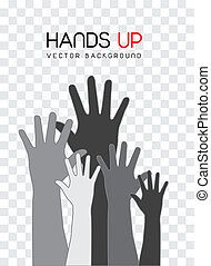 hands up - gray hands up over square background. vector ...