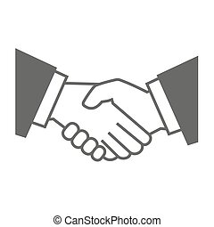 Gray Handshake Icon on White Background. Vector illustration