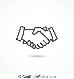 Handshake icon - Gray Handshake icon with shadow on white...