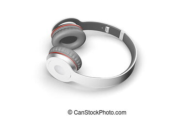 Gray headphones on white 3d render Isometric view