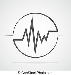 Heartbeat icon in the circle. Vector illustration. - Gray...