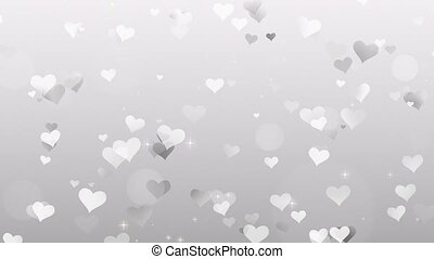 Gray Hearts on white background 4k