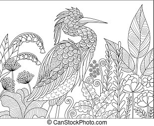Gray Heron bird in the forest for adult coloring book page....