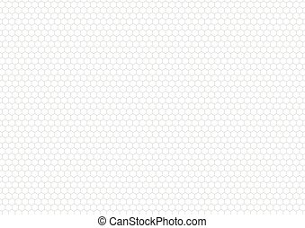 Gray hexagon grid on white, a4 size background