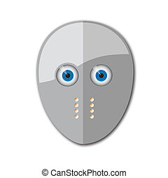 Gray hockey mask with holes for breathing and with holes for the eyes as the eyes