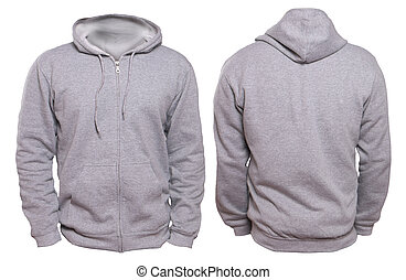 Blank sweatshirt mock up, front, and back view, isolated on white. Plain gray hoodie mockup. Hoody design presentation. Jumper for print. Blank clothes sweat shirt sweater