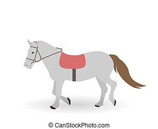 Gray horse on White Background. Vector Illustration.