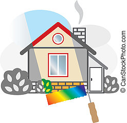 Gray house is painted in bright colors. Vector illustration.