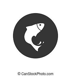 gray., icône, poisson blanc, vecteur