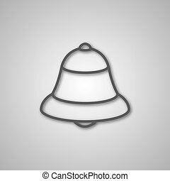 Gray icon bell, vector illustration.