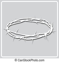 gray icon white silhouette of a crown of thorns