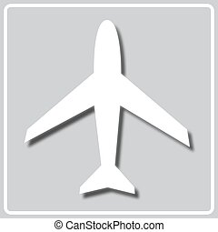 gray icon with a white silhouette of airliner