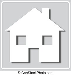 gray icon with white silhouette of a house