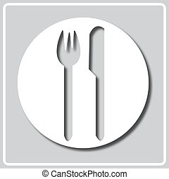 gray icon with white silhouette of a kitchen sign