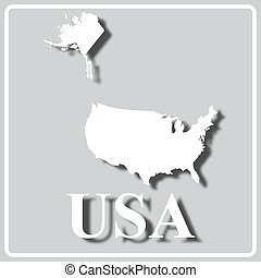 gray icon with white silhouette of a map USA