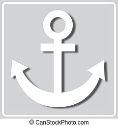 gray icon with white silhouette of a sea anchor