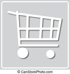 gray icon with white silhouette of a shopping cart