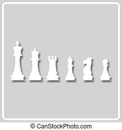 gray icon with white silhouette of chess pieces