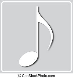 gray icon with white silhouette of musical notation