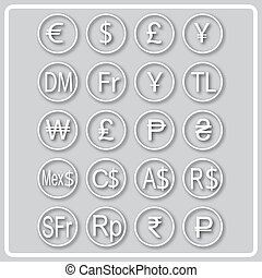 gray icon with white silhouettes of world currencies