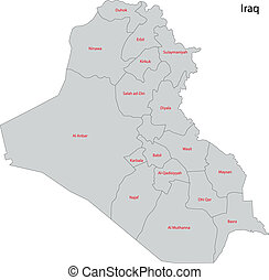 Gray Iraq map - Map of administrative divisions of Iraq